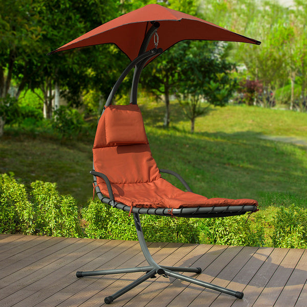SoBuy Garden and Home Rocking Chair Metal Sun Lounger with Leaf Roof and Cushion Included OGS39-ZG
