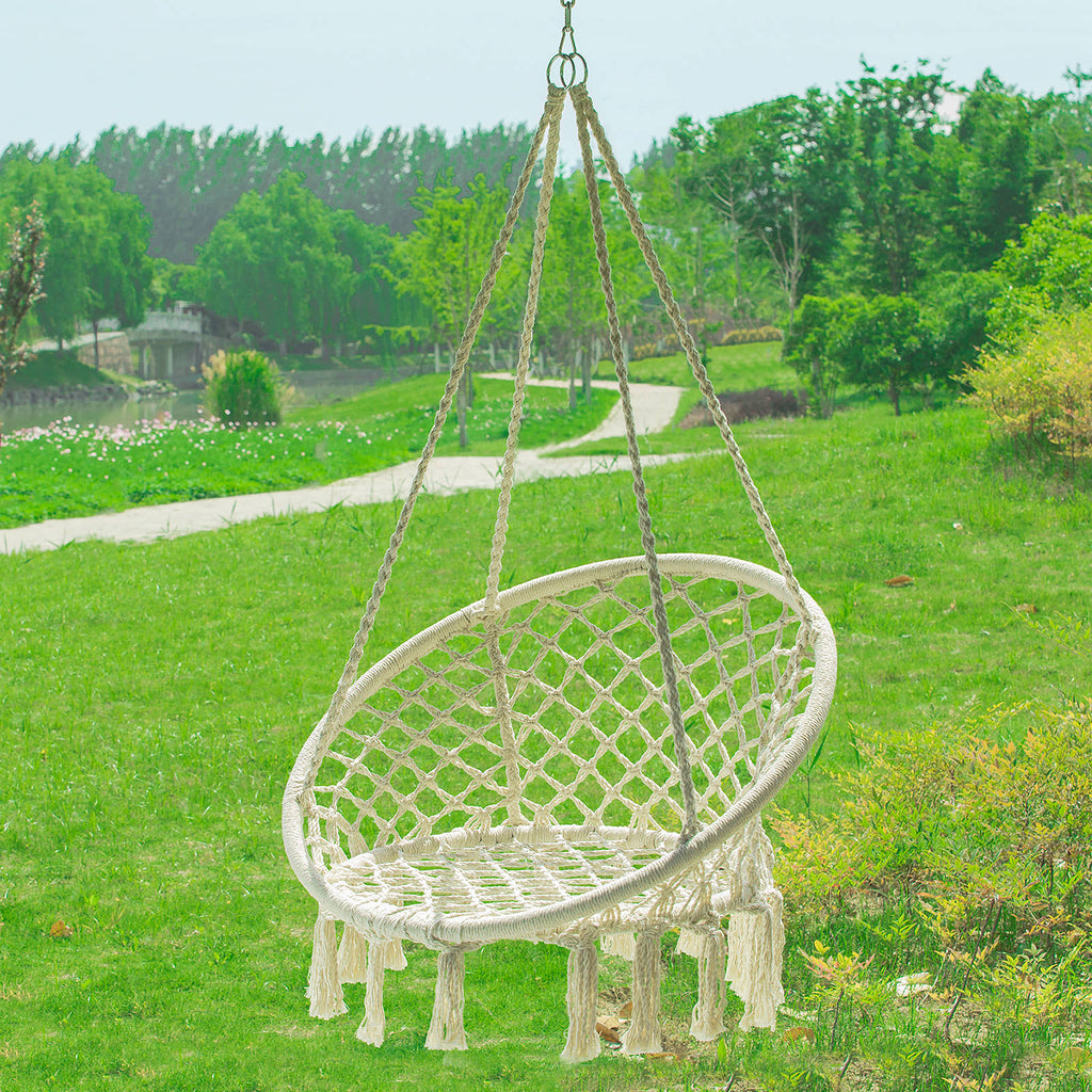 SoBuy Hammock for Garden or Home Hanging Chair for 1 Person in Cotton capacity? 150 kg OGS42-M