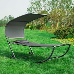 SoBuy Garden Lounger with Wheels Rocking Armchair Lounger Garden Single Bed Max. 200 kg L97 * P207 cm gray OGS44-DG