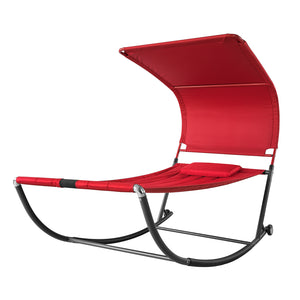 SoBuy Garden Lounger with Wheels Rocking Armchair Lounger Garden Single Bed Max. 200 kg L97 * P207 cm red OGS44-R