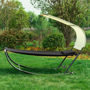 SoBuy Garden Lounger with Wheels Rocking Armchair Lounger Garden Single Bed Max. 200 kg W97 * D207 cm Black OGS44-SCH