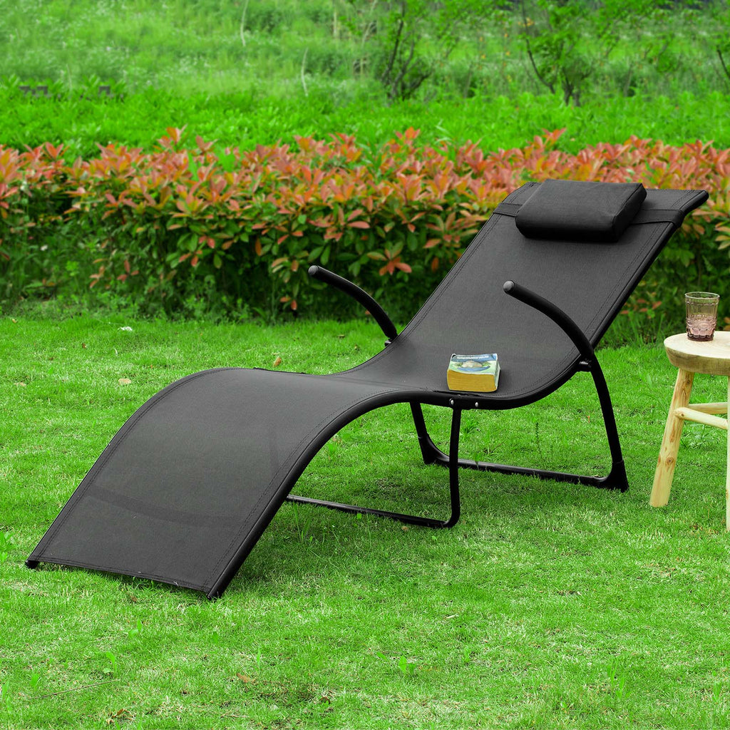 SoBuy Garden Lounger Folding Loungers Removable Headrest 173 * 54 * 69CM black capacity Support: 150 kg OGS45-SC