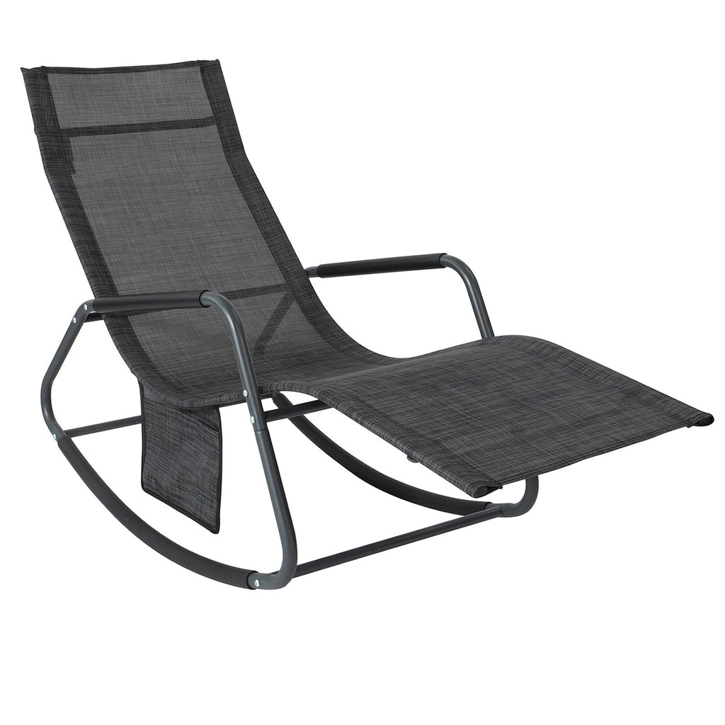 SoBuy Garden Rocking Armchair Outdoor Rocking Chair with Side Pocket Up to 150 kg capacity Black OGS47-MS