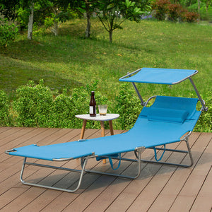 SoBuy Folding Sun Lounger Cushion and canopy Adjustable 4 reclining angles with blue Organizer, OGS48-B