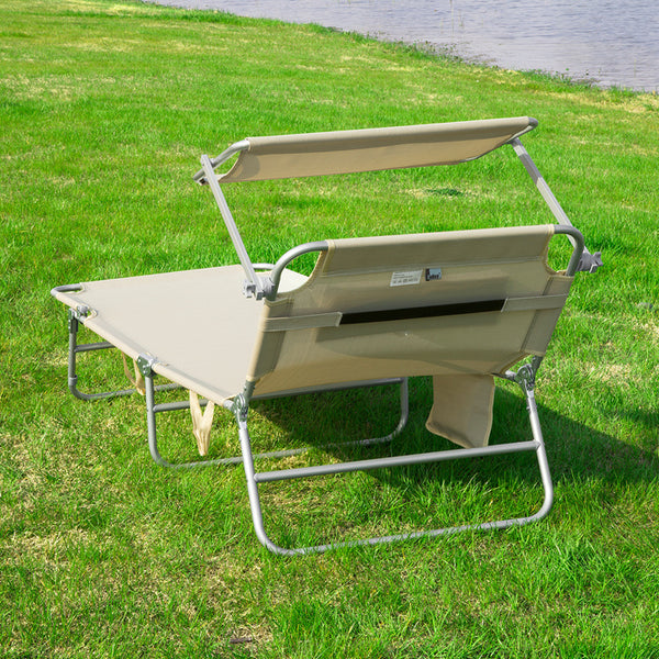SoBuy Folding Sun Lounger Cushion and canopy Adjustable 4 reclining angles with Organizer Beige, OGS48-MI