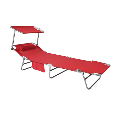 SoBuy Folding Sun Lounger Cushion and canopy Adjustable 4 reclining angles with Organizer Red, OGS48-R