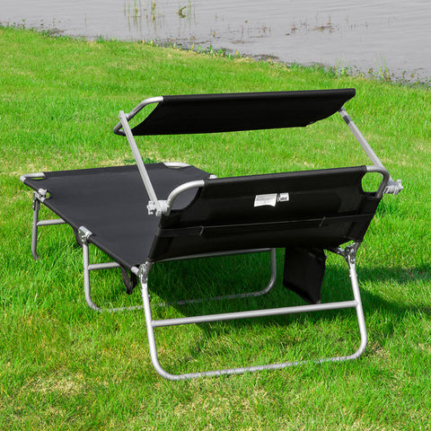 SoBuy Folding Sun Lounger Cushion and canopy Adjustable 4 reclining angles with Organizer Black, OGS48-SCH