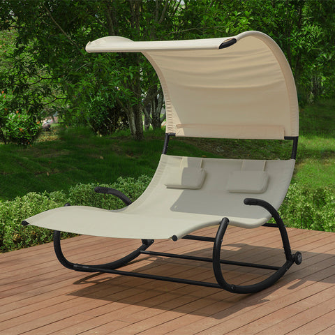 SoBuy 2 Seater Rocking Lounger with 2 Cushions and Roof Capacity up to 300 kg L123 * P190 * A38 CM OGS50-MI Beige