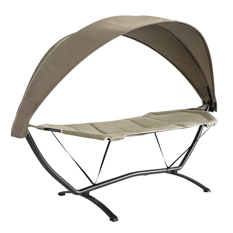 SoBuy Hammock with Stand and Garden Canopy L92 * P214 * H72cm, Capacity Up to 150kg with OGS51-BR Fall Protection Straps