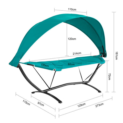 SoBuy Hammock with Support and Garden canopy L92 * P214 * H72cm, Load capacity up to 150 kg with fall arrest straps OGS51-TB (Blue)