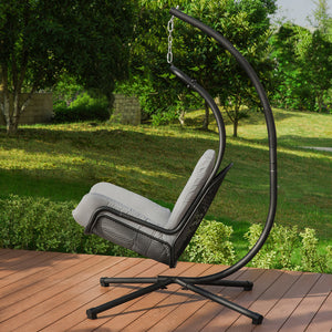 SoBuy Rocking Chair for Garden and Home Metal Sun Lounger with Cushion Included Max Load 150 kg OGS52-HG