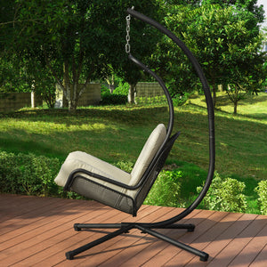 SoBuy Garden and Home Rocking Chair Metal Sun Lounger with Cushion Included Max Load 150 kg OGS52-MI