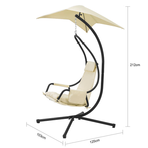 SoBuy Lounger Suspended Garden Rocking Chair with Leaf Canopy and Side Pocket Max Capacity 150 kg Beige OGS53-MI