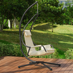 SoBuy Lounger Suspended Garden Rocking Chair with Cushion and Side Pocket Max Capacity 150 kg Beige OGS54-MI
