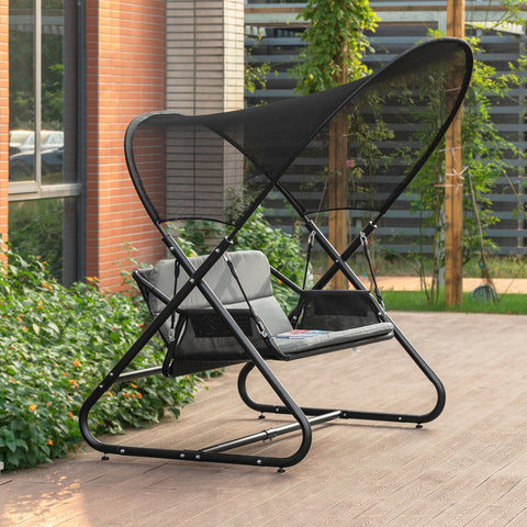 SoBuy Rocking Chair Garden Swing Rocking Garden Bench with Awning Gray Load Capacity 300 kg OGS58-HG