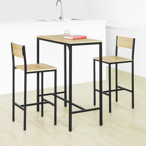 SoBuy High Bar Table Set with 2 Stools Industrial Style Dining Table with Backrests, OGT03-LN