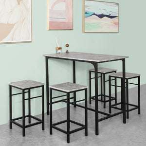 SoBuy Table And Chairs High Table Wooden Kitchen Table With 4 Gray Stools Ogt11-HG