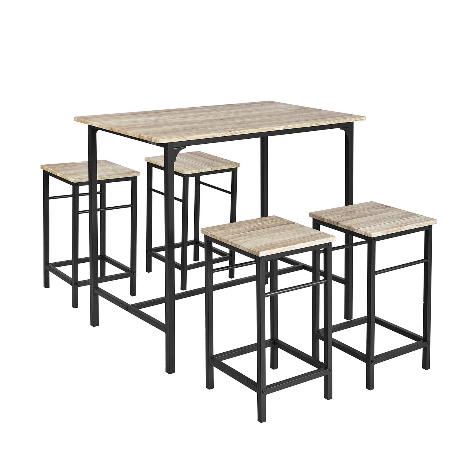 SoBuy Table And Chairs High Table Wooden Kitchen Table With 4 Stools Ogt11-N