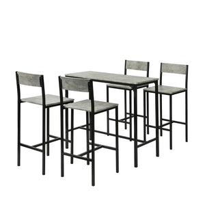 SoBuy 5 Piece High Table and 4 Chairs Set, Balcony Furniture Set, OGT14-HG