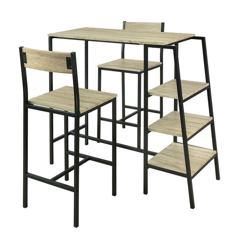 SoBuy Table And Chairs High Table Wooden Kitchen Table With 2 Chairs Ogt16-N