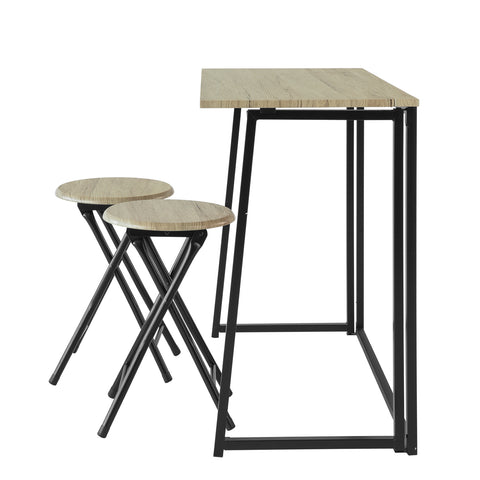 SoBuy Folding Table with 2 stools Folding Space-saving table in Wood and Iron W90 * D45 * H74 cm Max Capacity 150 kg OGT18-N