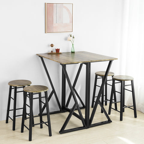 SoBuy Kitchen Table with 4 stools, Folding Bar Table L40-80cm * P80cm * A89 cm Vintage Style OGT24-N