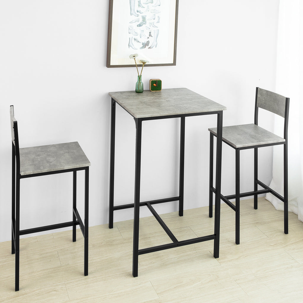 SoBuy Set 3 Pieces Table with 2 stools Bar for home Industrial style, W60 * D60 * H97cm, Gray OGT27-HG