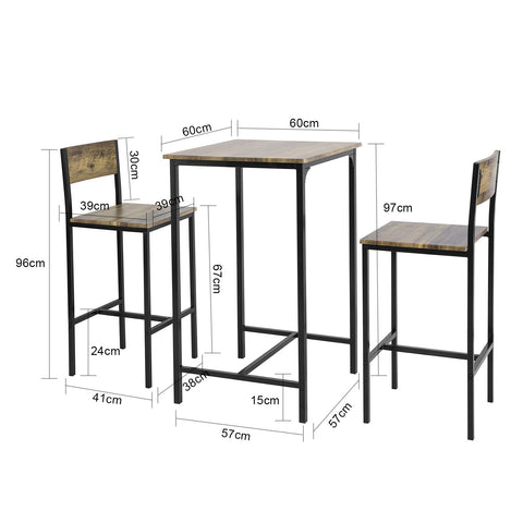 SoBuy Set 3 Pieces Table with 2 stools Bar for home Industrial Style, W60 * D60 * H97cm, wood OGT27-N
