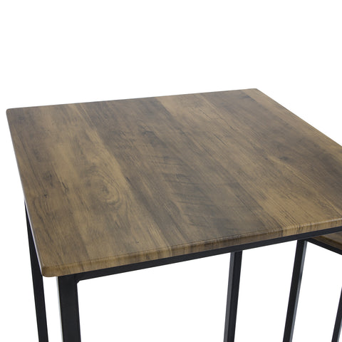 SoBuy 3 Piece Set Table with 2 Stools Industrial Style Home Bar Cabinet, W60 * D60 * H97cm, OGT27-N ξύλο