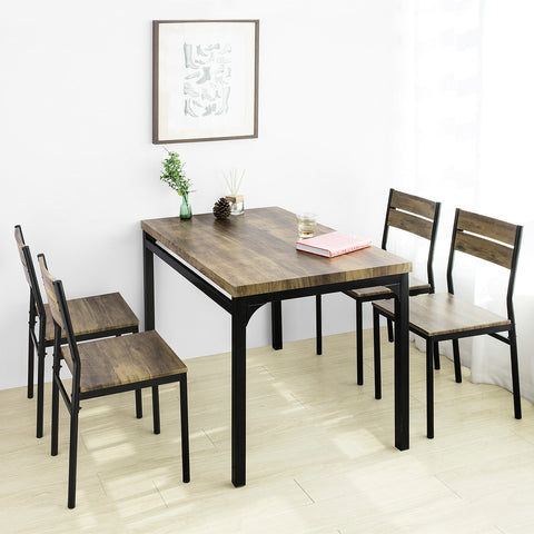 SoBuy 5 Piece Set Dining Table with 4 Stools Living Room Kitchen and Restaurant OGT28-N + FST72-Nx4