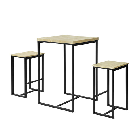 SoBuy Set of 3 Dining Table and Chairs Outdoor Kitchen Table Table with Chairs, OGT31-N