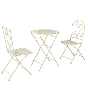 SoBuy Set Folding Balcony Table with 2 Folding chairs, Round Vintage Style White OGT33-W