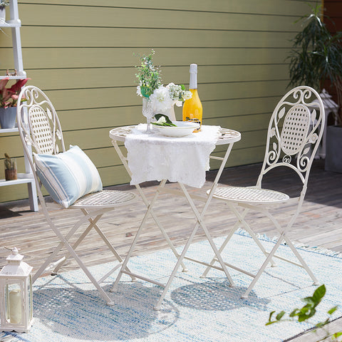 SoBuy Set Folding Balcony Table with 2 Folding chairs, Round Vintage Style White OGT35-W