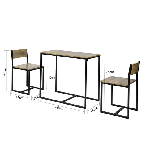 SoBuy Set 3 Pieces Table with 2 Stools Cabinet Bar Chairs for Dining Room or Kitchen Vintage Style, Height 75 cm, OGT36-N