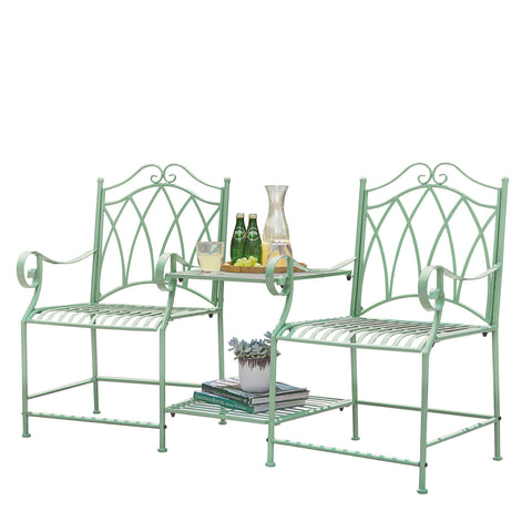 SoBuy Bistro Set Wrought Iron Garden Outdoor Table with Chairs Balcony Side Table Garden Table with Chairs Green OGT44-GR