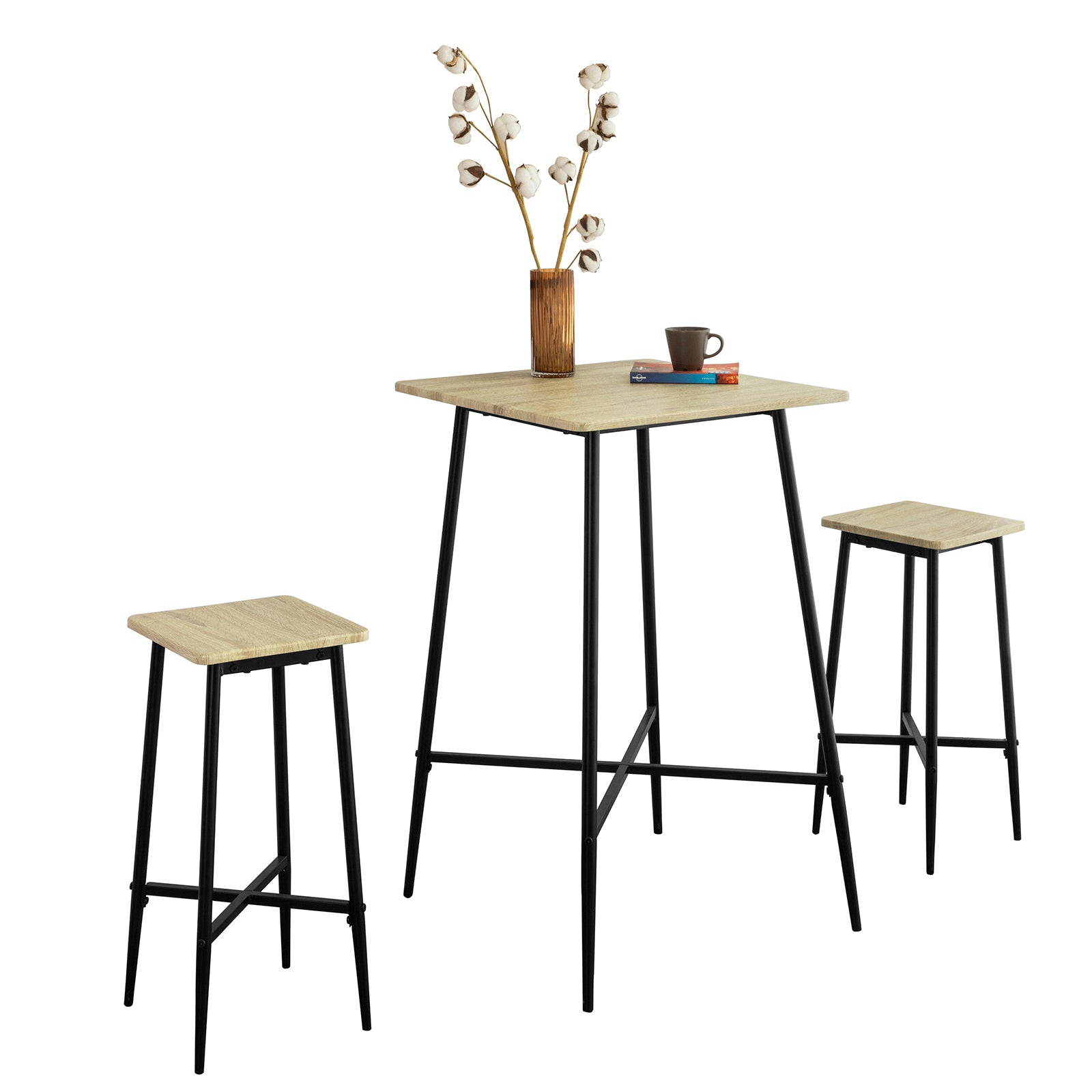 SoBuy 3-Piece Bar Table Set with 2 High Stools Home Bar Cabinet Dining Table, OGT48-N