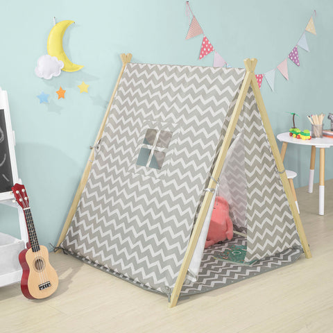 SoBuy Children's play tent Indian tent with 2 doors and a window Gray toy curtains OSS02-HG