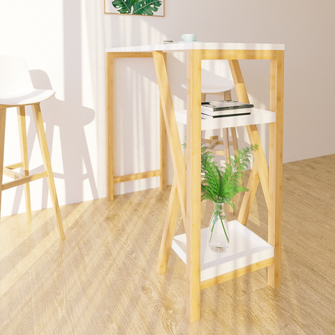 SoBuy High Bar Table Peninsula Kitchen Length 122 cm depth 45 cm Height 107 cm, Top in White, Legs in solid bamboo wood FWT56
