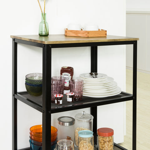 SoBuy Kitchen Trolley, Serving Trolley, Kitchen Trolley with Wheels, Industrial Style, SVW04-N