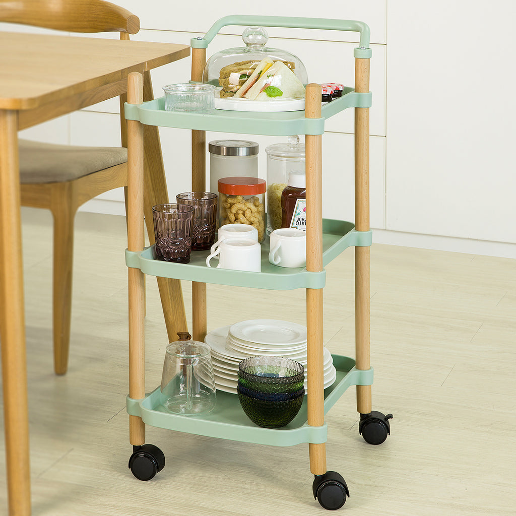 SoBuy Kitchen Trolley Food Cart Service Trolley Kitchen Trolley with Wheels, Green, SVW06-GR
