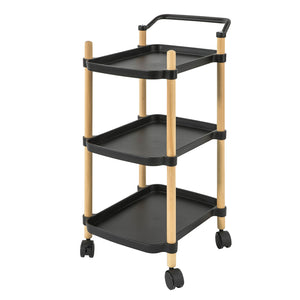 SoBuy Kitchen Trolley Food Cart Service Trolley Kitchen Trolley with Wheels, Black, SVW06-SCH
