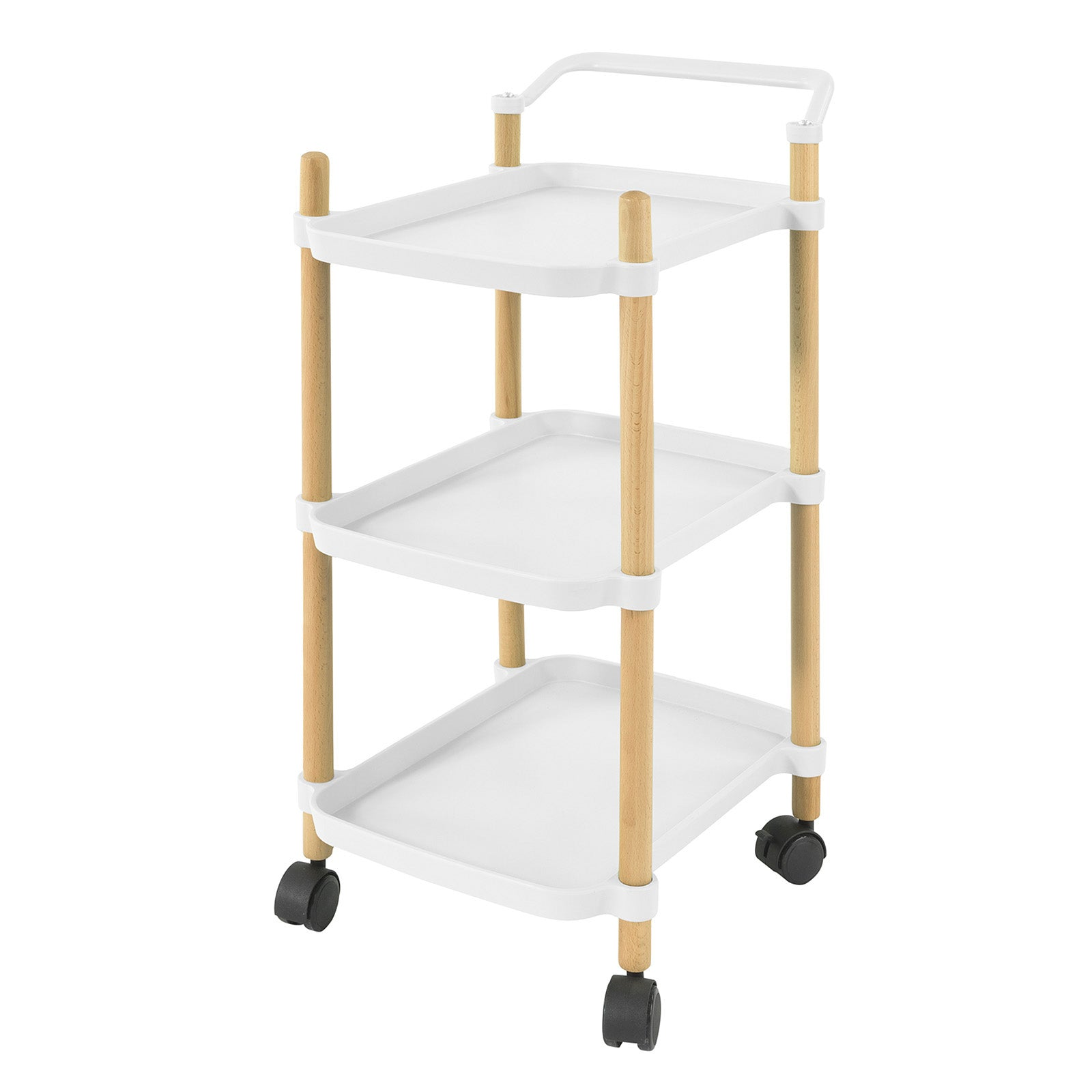 SoBuy Kitchen Cart Serving Cart Serving Cart Kitchen Cart with Wheels, White, SVW06-W