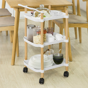 SoBuy Kitchen Cart Serving Cart Servering Cart Kitchen Cart with Wheels, White, SVW06-W