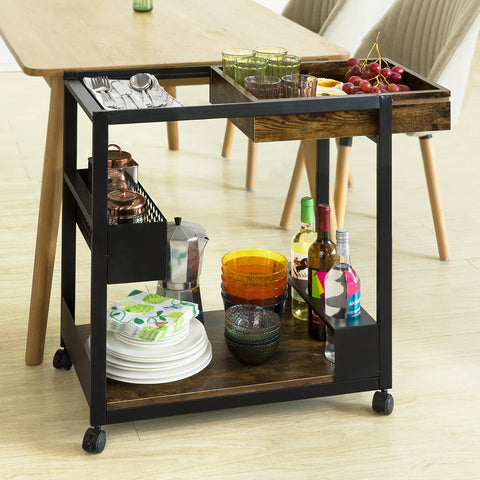 SoBuy Shopping Cart Kitchen Cart Food Cart Kitchen Cart Bar Cart With Route SVW07-SCH