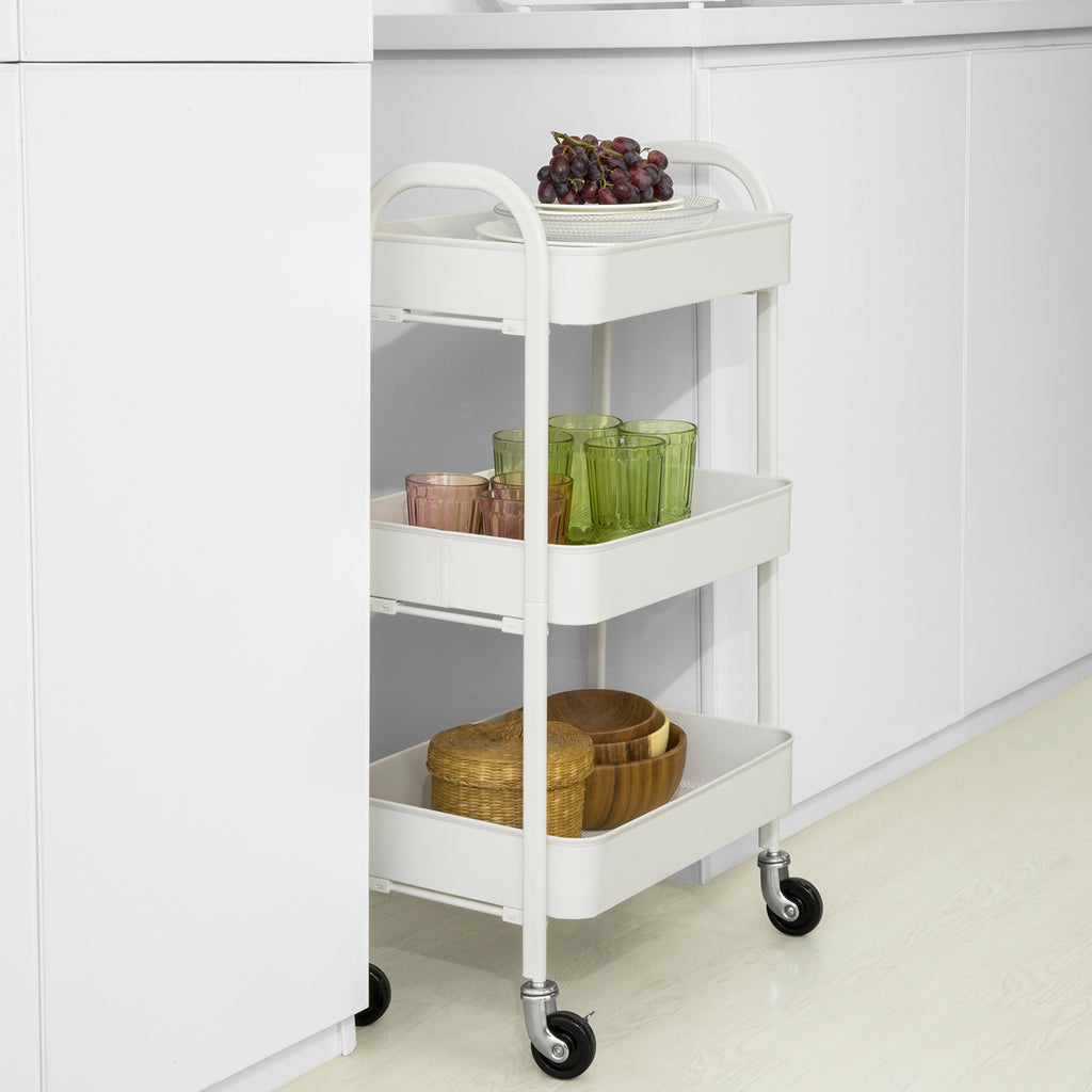 SoBuy Kitchen Trolley Food Cart Serving Trolley Kitchen Trolley with Wheels, White, SVW11-W