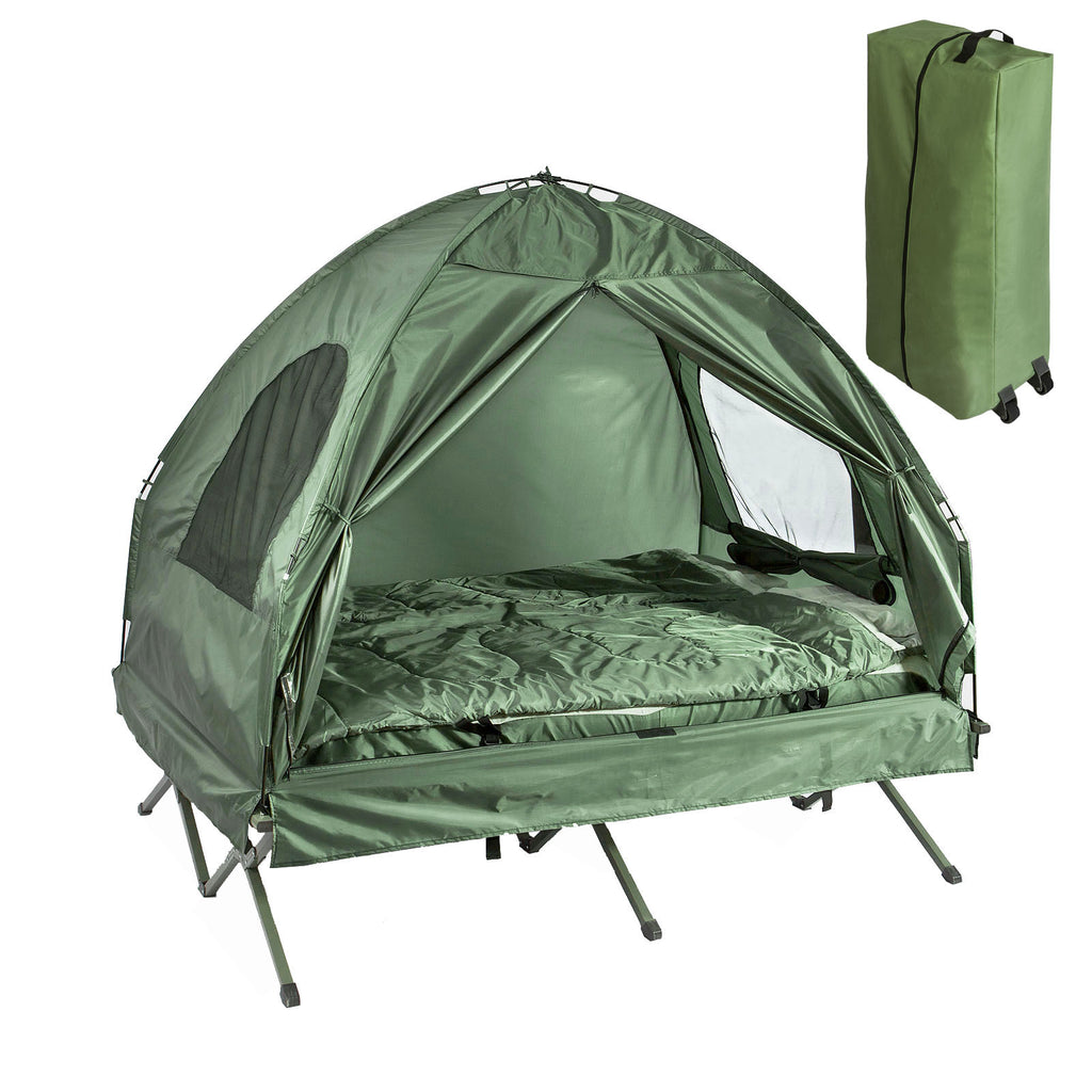 SoBuy Folding camp bed Camping tents with mattress and 1 green sleeping bag, Max capacity 160 kg, OGS32-GR