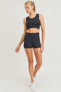 Ribbed Highwaist Active Short Shorts