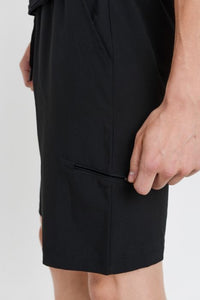 Active Drawstring Shorts with Zippered Pouch