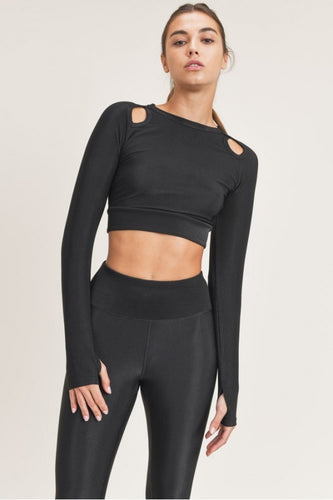 Micro-Ribbed Long Sleeve Active Cropped Top with Cutouts