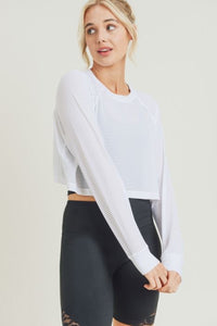 Striped Mesh Raglan Cropped Shirt with Long Sleeves